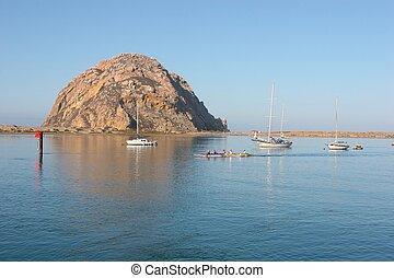 Morro Bay - Morro Rock - big granite rock in Morro Bay,...
