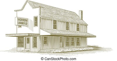 Morrow Lumber Company - Woodcut illustration of an old...