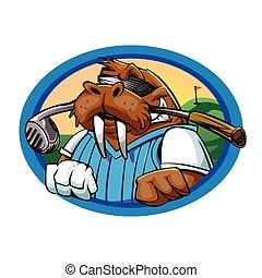 morsa, caricatura, club, golf