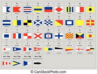 morse, alfabet, signaal, maritiem, internationaal, nautisch, vlaggen