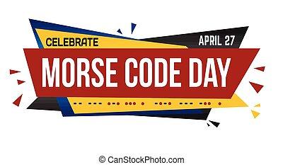 Morse code day banner design on white background, vector ...