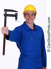 morsetto, lavoratore costruzione, giovane, f