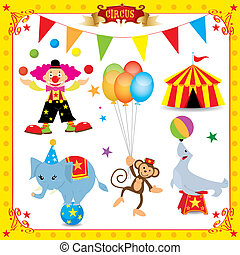 morskab, cirkus, sæt