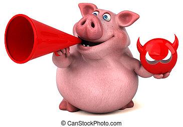morskab, gris, -, illustration, 3