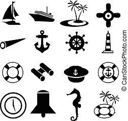 morski, ikony, komplet