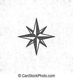 morski, monochromia, szorstki, styl, majchry, sylwetka, rocznik wina, logotypes., design., t-koszule, czuć się, używany, symbol, etykiety, druk, ikona, symbole, illustration., wektor, może, róża, albo, wiatr