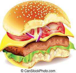 morso, foto, vettore, hamburger, realistico