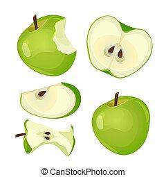 morso, intero, fetta, mela, isolato, fondo, mezzo, bianco