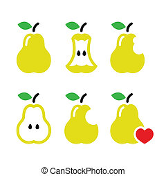 morso, pera, pera, centro, icone