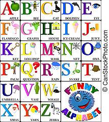 morsom, alfabet, hos, afbildningerne