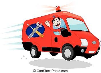 morsom, begreb, godsvognen, kørende, -, assistancen, ekspres, handyman