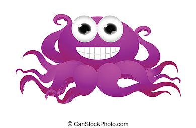 morsom, blæksprutte, cartoon