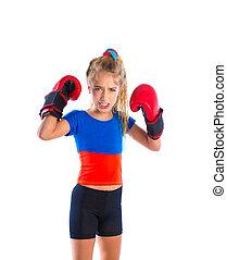 morsom, boksning, bokser, handsker, lys, pige, barnet