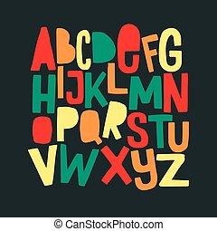 morsom, breve, farverig, comics, hånd, font., stram, cartoon