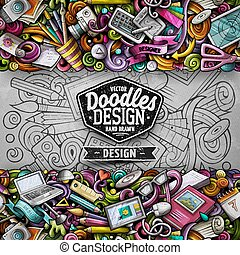 morsom, card., border., vektor, konstruktion, stribe, doodles, horisontale, cartoon, kunstneriske