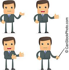 morsom, cartoon, forretningsmand, give, præsentation