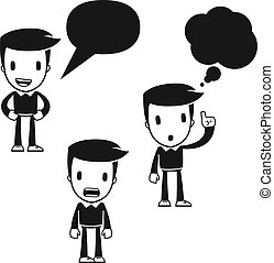 morsom, cartoon, hjælper, mand