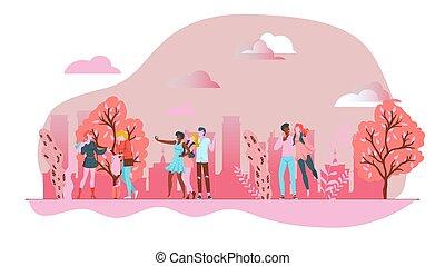 morsom, cartoon, isoleret, udendørs, det peoples, white., lyserød, landskab, forår, park, firmanavnet, illustration, vektor, urban formgiv