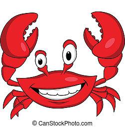 morsom, cartoon, krabbe