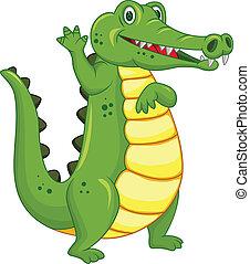 morsom, cartoon, krokodille