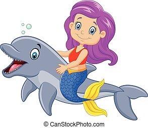 morsom, cartoon, svømning, havfrue