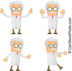 morsom, cartoon, videnskabsmand