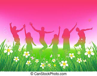 morsom, det peoples, grønnes felt, dansende