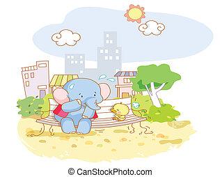 morsom, elefant, cartoon, chicks