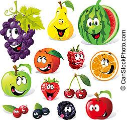 morsom, frugt, cartoon
