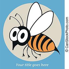 morsom, hveps, eller, bee., rystet