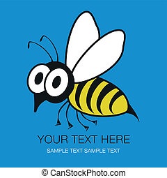 morsom, hveps, rystet, bi, eller, design.