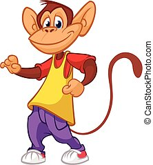 morsom, illustration., abe, dansende, moderne, clothes., vektor, chimpanse, cartoon, mascot