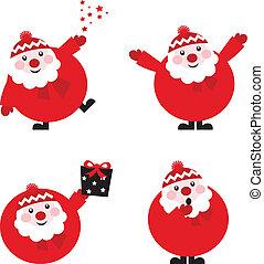 morsom, isoleret, samling, vektor, santa, hvid, rød