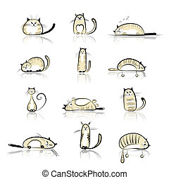 morsom, katte, samling, by, din, konstruktion