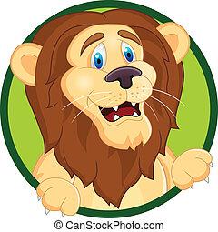morsom, løve, cartoon