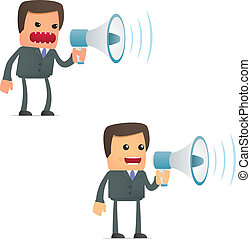 morsom, megafon, cartoon, forretningsmand