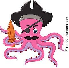morsom, poser, blæksprutte, cartoon, smile