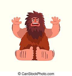 morsom, primitiv, caveman, ælde, forhistoriske, karakter, sten, illustration, vektor, baggrund, hvid, cartoon, mand