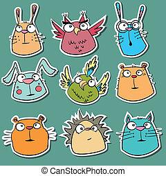 morsom, sæt, stickers, dyr