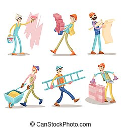 morsom, sæt, vektor, konstruktion, cartoon, arbejdere