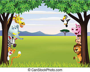 morsom, safari, dyr, cartoon