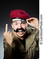 morsom, soldat, ind, militær, begreb