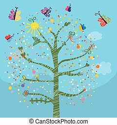 morsom, sommerfugle, børn, træ, card