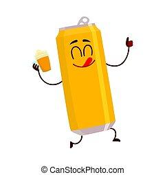 morsom, tommelfinger, viser, karakter, oppe, øl, nydelse, dåse, smil