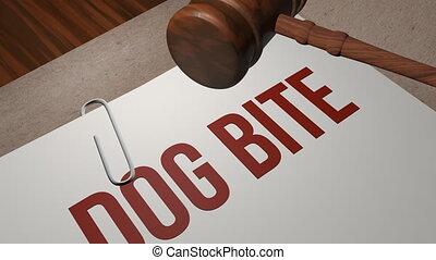 morsure, concept, procès, chien, légal