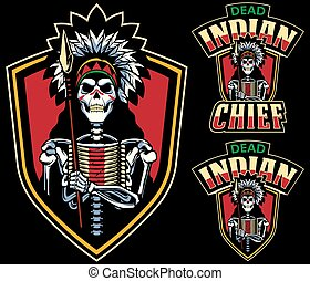 mort, chef indien, mascotte