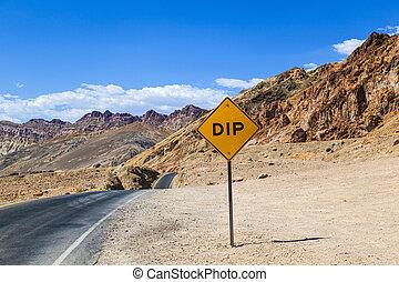 mort, collines, coloré, scénique, conduire, vallonné, vallée...