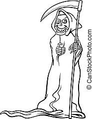 mort, coloration, squelette, livre, dessin animé