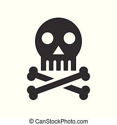 mort, crâne, signe, monde médical, apparenté, solide, healthcare, os croisés, icône