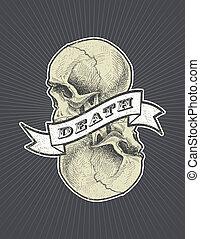 mort, crâne, signe, vecteur, eps8, ruban